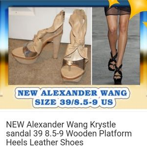 NEW Alexander Wang leather wood platform heels 39